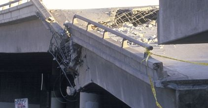 Collapsed overpass on Highway 10 after Northridge Earthquake
