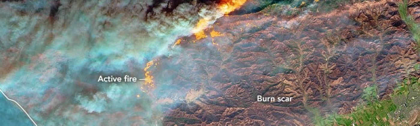 CA wildfire NASA image