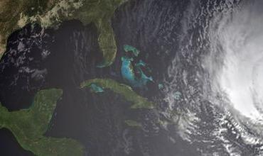Satellite image of a hurricane approaching North America